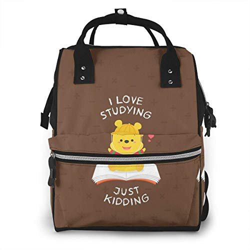 Diaper Bag Backpack - Winnie Love Studing Just Kidding Multifunction Waterproof Travel Backpack Maternity Nappy Changing Bags