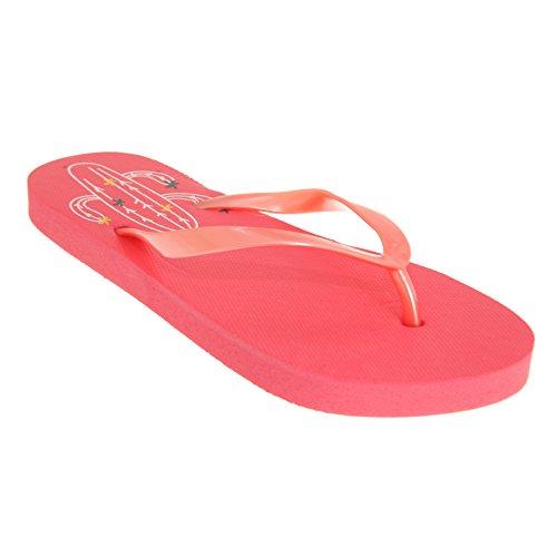 Sand Rocks Womens/Damen Kaktus Flip Flops (38/39 EU) (Pink)