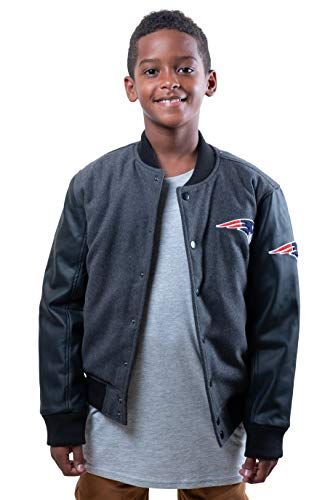 NFL Ultra Game New England Patriots Boy's Varsity Jacket (Charcoal Heather) ~ $14.90 + Free Shipping w/ Prime or Orders $25+