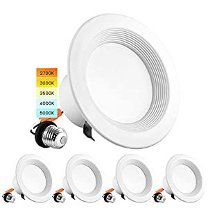 Luxrite 4 Inch LED Recessed Can Lights, 10W=60W, CCT Color Selectable 2700K   3000K   3500K   4000K   5000K, Dimmable Retrofit Downlights, 750 Lumens, Energy Star, Wet Rated, Baffle Trim (4 Pack)
