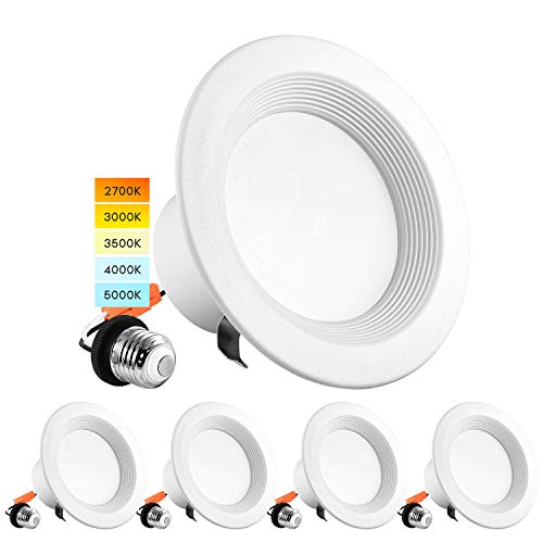 Luxrite 4 Inch LED Recessed Can Lights, 10W=60W, CCT Color Selectable 2700K | 3000K | 3500K | 4000K | 5000K, Dimmable Retrofit Downlights, 750 Lumens, Energy Star, Wet Rated, Baffle Trim (4 Pack)