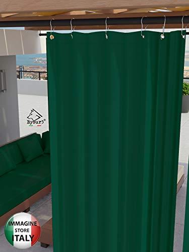 Toldos Exteriores con Agujeros en la Parte de Arriba y los Ganchos de Metal Tejido antimoho Repelente al Agua Toldo de Tela de algodón resinado para terrazas Gazebos Balcon (Verde, 190>cm x H 280cm)