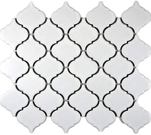 Keramikfliese Retro Vintage Mosaik Fliese Keramik Florentiner weiß matt für BODEN WAND BAD WC DUSCHE KÜCHE FLIESENSPIEGEL THEKENVERKLEIDUNG BADEWANNENVERKLEIDUNG | 10 Mosaikmatten