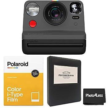 Polaroid Now i-Type Camera - Black + Polaroid Color i-Type Film  8 Sheets  + Black Album - All Inclusive Bundle
