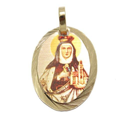 Santa Eduviges medalla–Santa eduvges medalla chapado en oro de 14K Medalla con 18pulgadas cadena