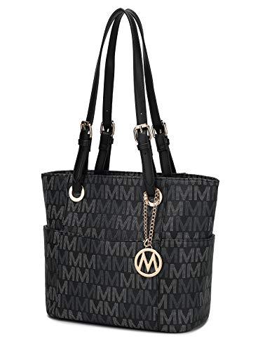 MKF Shoulder Bag for Women: PU Leather Top Handle Tote Handbag – Lady Fashion Satchel Pocketbook, Multi Pocket Purse Black