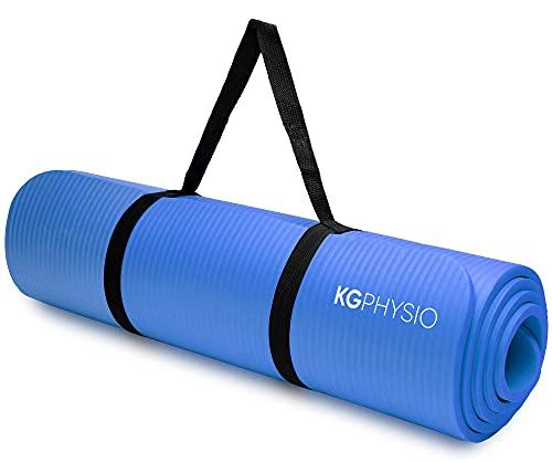 KG Physio Yogamatta - NBR Halkfri träningsmatta med yogamattrem ingår - Idealisk för HiiT,...