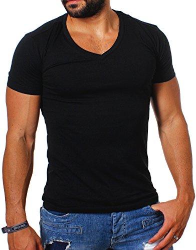 Young & Rich Herren Uni Basic T-Shirt mit tiefem V-Ausschnitt deep V-Neck einfarbig Slimfit 1875, Grösse:M;Farbe:Schwarz