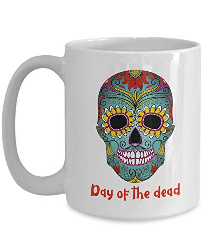 N\A Dia de los Muertos Taza de café Calavera de azúcar, Dia de los Muertos Tazas de Calavera cerámica Mexicana azucar calaveritas Regalos, Esqueleto Decorativo de Halloween