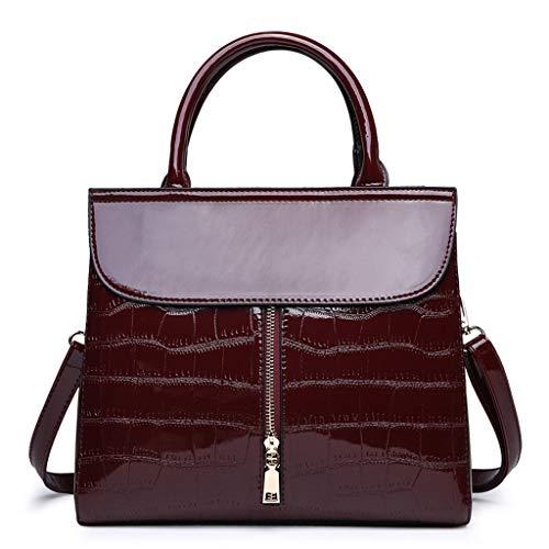 MWY Bolso de Mujer, Bolso con Estampado de Cocodrilo que Muestra el encanto de la mujer, Bolso de Cuero rojo vino Noble y Elegante