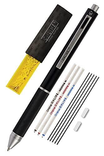Online Multipen 4 en 1 negro | Bolígrafo y lápiz multifunción metal | 3 minas de bolígrafo en azul, negro y rojo, 1 mina de portaminas | incluye goma de borrar, en caja de regalo