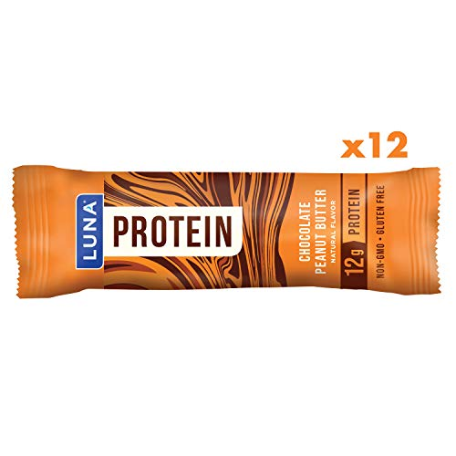 LUNA PROTEIN - Gluten Free Protein Bars - Chocolate Peanut Butter Flavor - (1.59 Ounce Snack Bars, 12 Count)