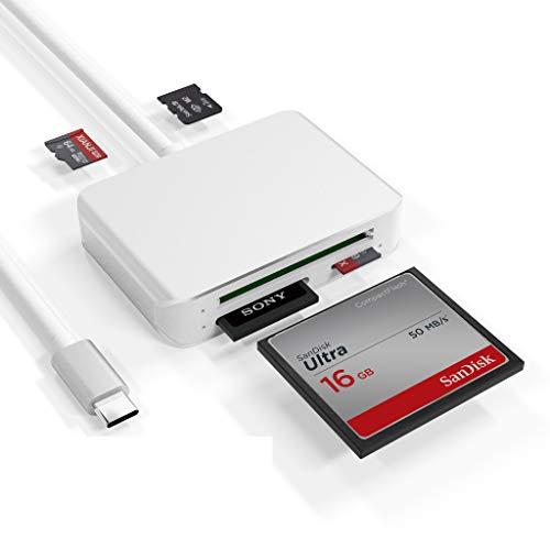 USB Tipo C Lector Tarjetas SD Micro SD, 5 En 1 USB C Lector Tarjeta de Memoria para Compact Flash (CF), SDXC, SDHC, M2 Adaptador Compatible con MacBook, iPad Pro, Samsung Galaxy S20, Surface Book 2