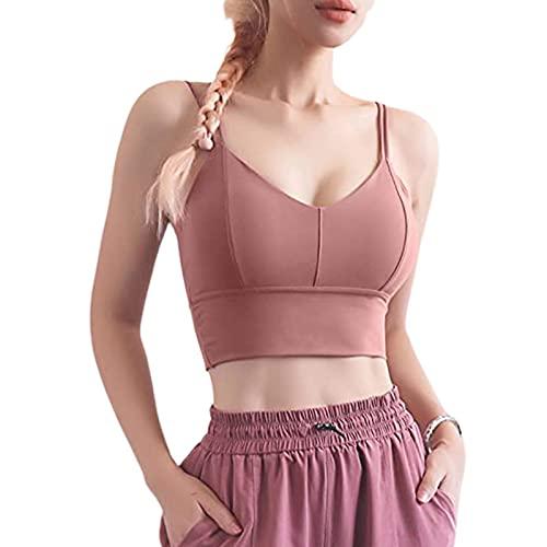 Charmlinda Sujetador deportivo para mujer sexy con cuello en V expuesto ombligo color sólido sin espalda Y2k cierre camisola con doble correas