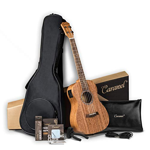Baritone Electric Ukulele Caramel All Solid Mahogany 30 inch Professional Wooden ukelele Instrument Kit Small Hawaiian Guitar Beginner ukalalee Starter Pack Bundle Gig bag, Strap, String Set