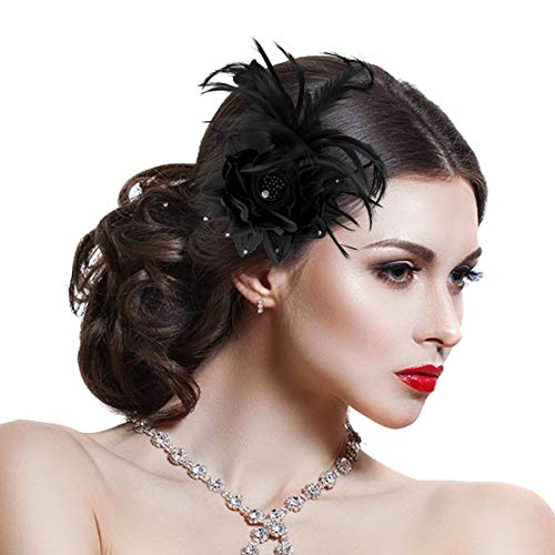 Damen Elegant Fascinator Haar Clip Accessoire Mesh Bänder Federn Hochzeitskirche Kopfbedeckung