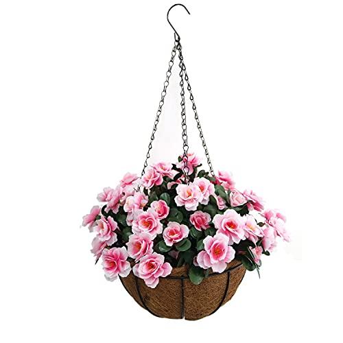 Cesta colgante para colgar en interiores y exteriores, diseño de flores de seda rosa con maceta de rododendro falso DIY flores artificiales azalea (cesta pequeña)