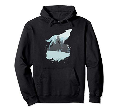 Tiermotiv Silhouette | Naturliebhaber | Wolfsilhouette Wolf Pullover Hoodie