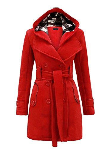 NOROZE Womens Check Hood Duffle Coat(10 (UK 14), Red)