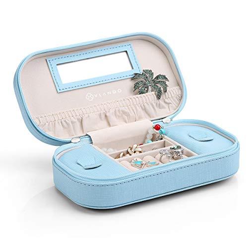 Vlando Reise-Schmuck-Organizer-Box, tragbar, verspiegelt, Schmucketui, Handtasche mit Quaste Reißverschluss für Armbänder, Ohrringe, Ringe, Halsketten(Blau)