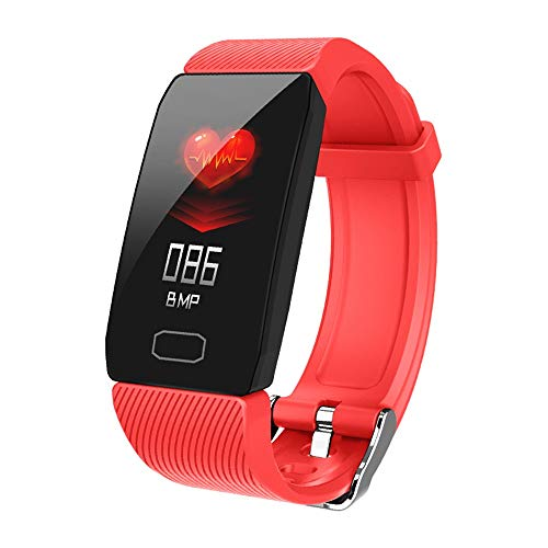 FullLove Damen Fitness Tracker Elegant Schmal - Schrittzähler mit Pulsmesser und Blutdruckmessung - Armband in Rot
