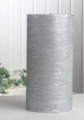 Rustik-Stumpenkerze, 20 x 10 cm Ø, silber-metallic