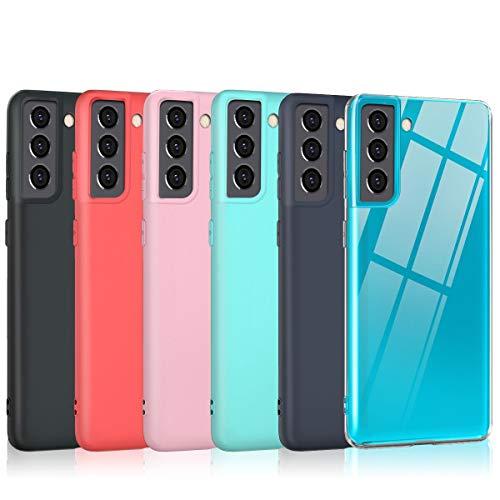 Oureidoo 6X Cover Samsung Galaxy S21+/S21 Plus, Custodia per Samsung Galaxy S21+/S21 Plus in Silicone TPU, Back Case Cellulare Nero + Trasparente + Blu Scuro + Rosso + Rosa + Verde Menta