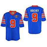 Boriz Sandler Bobby Boucher Waterboy Mud Dogs Football Jersey With Bourbon Bowl Patch (42, Blue)