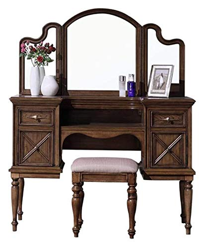 LXYYY Best Design Vanity Benches Simple American Solid Wood Dressing Table - Bedroom Simple European tri-fold Mirror Dressing Table Combination American Fashion Wind Great Gift for Girls Women