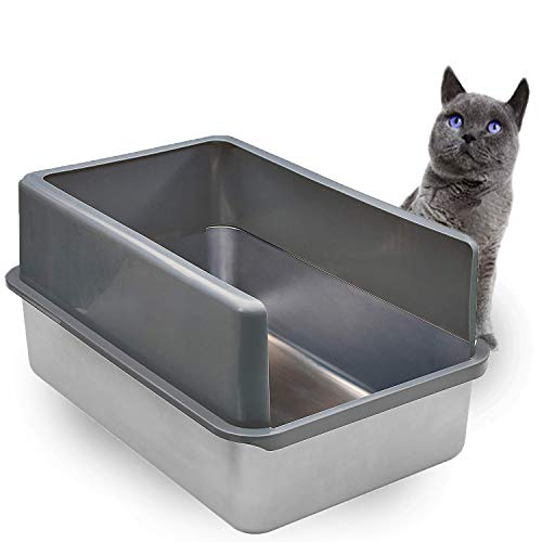 iPrimio Enclosed Sides Stainless Steel Cat XL Litter Box Keep Litter In the Pan - Never Absorbs Odor, Stains, or Rusts - No Residue Build Up - Easy Cleaning Litterbox Designed by Cat Owners - Patented