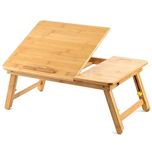 YINGGEXU Phoebe - Escritorio de bambú ajustable para portátil, mesa de desayuno plegable con cajón basculante