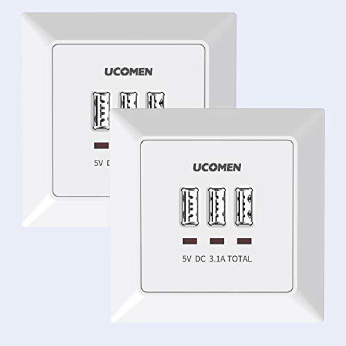UCOMEN 3.1A Wand Steckdosen mit 3 USB Anschlüssen, USB Socket Flush Mounted, Electrical Socket, Laden aller mobilen Geräte Passent in standard Unterputzdose,weiß (2 Pack)