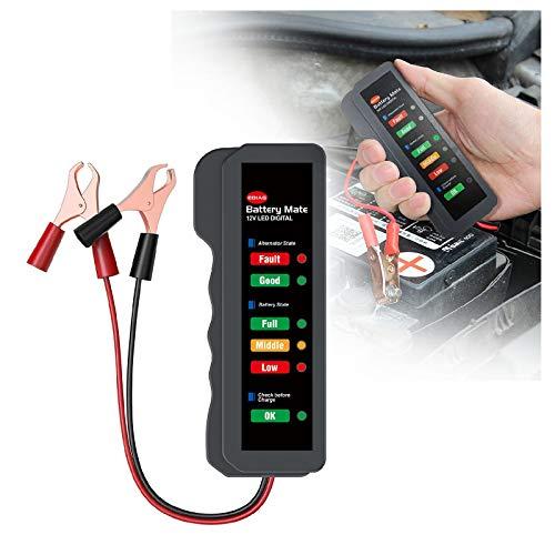 XIMIN LED Auto 12V Batteriedetektor, Kfz Batterieprüfer, Auto 12V Batterie und Lichtmaschinentester, Testbatteriezustand und Aufladung der Lichtmaschine