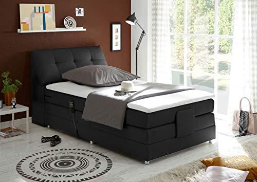 *Froschkönig24 Concord 120×200 cm Boxspringbett Bett mit Motor Schwarz, Ausführung:Variante 3*