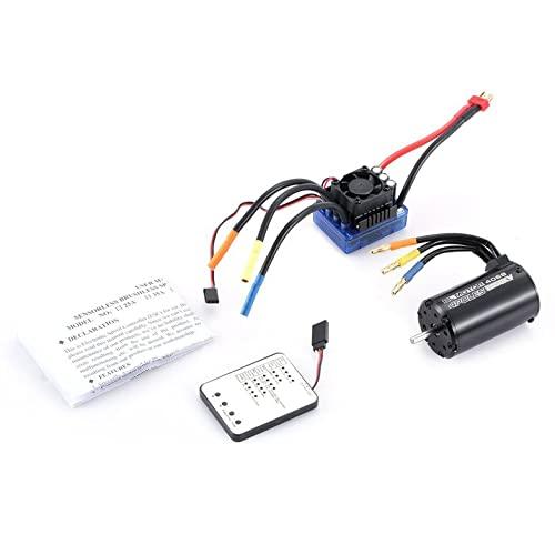 Surpass Hobby 4068 2050KV Motor sin escobillas sin sensores de 4 Polos 120A ESC con Juego Combinado de Tarjeta de programación LED para camión de Coche RC 1/8