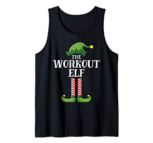 Workout Elf Matching Family Group Christmas Party Pajama Tank Top