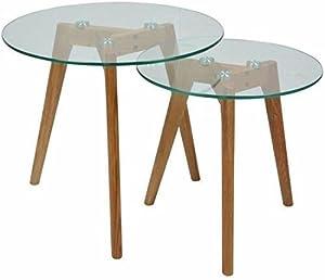 MUIDECO® - Lot de 2 Tables Basses en Verre - Gigognes - Rondes - Design Scandinave.