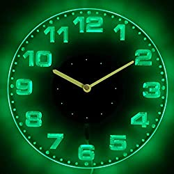 ADVPRO cnc2007-g Round Modern Numerals Illuminated Edge Lit Bar Beer Neon Sign Wall Clock with LED Night Light
