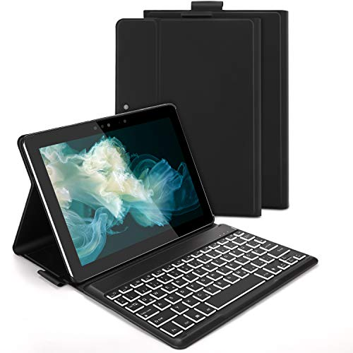 Jelly Comb Beleuchtete Tastatur Hülle für Surface Go 2018/2020 (1. Gen/2. Gen), Abnehmbare QWERTZ Bluetooth Tastatur mit Schutzhülle für Surface Go, Schwarz