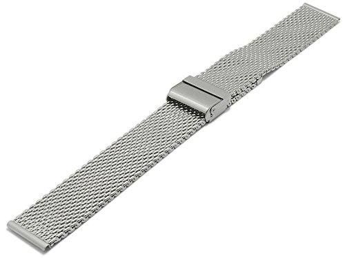 Meyhofer Uhrenarmband XL Hopewell 18mm Milanaise stahlfarben mittelschweres Geflecht mit Schiebeverschluß MyCskmb7014