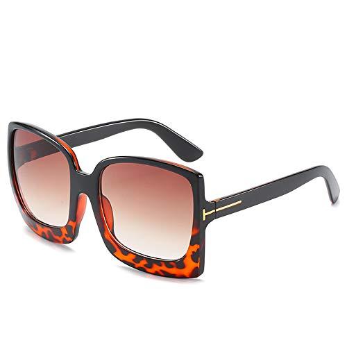ShZyywrl Gafas De Sol Oversize Square Sunglasse Mujeres Vintage BlackSun Galsses Hombres Gradient Fashion Blackleopardtea