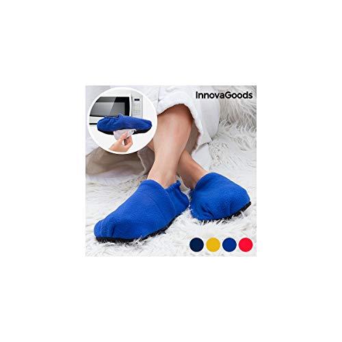InnovaGoods - Zapatillas de Casa Calentables en Microondas, Rojo, Unisex, Talla Única, Calienta Pies