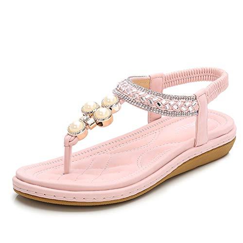 Sandalias para mujer trenzadas con diamantes de imitación de perlas, tallas grandes, zapatos de mujer, zapatos de princesa, sandalias planas para mujer, zapatos de playa, color rosa, 36