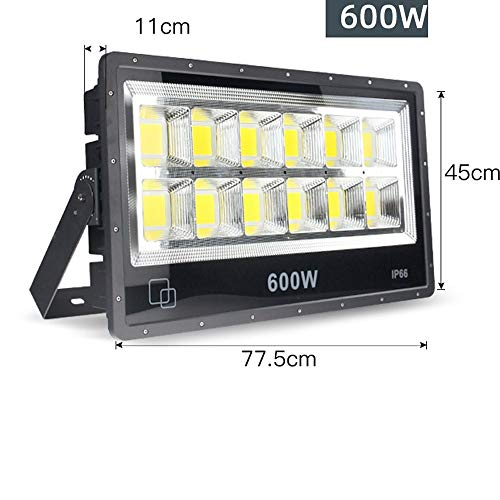 Wlnnes 50W-100W-150W-200W-300W-400W-500W-600W LED Floodlight Outdoor Security Lights, IP66 Waterproof,3500K/6000K,Outdoor Flood Light Wall Light for Garage, Garden and Forecourt (Color : 600W) 4
