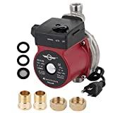 BOKYWOX 120W Hot Water Circulation Pump 3/4'' 110V Circulation Pump For Solar Heater System(stainless steel red)