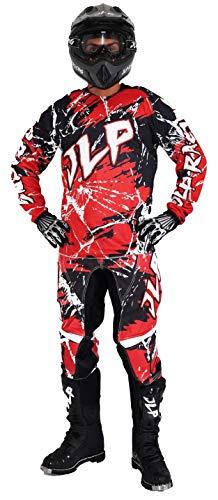 JLP RACING - Tuta da moto da cross Quad MTB, BMX, da bambino, colore: rosso, 24 us 7 8 anni