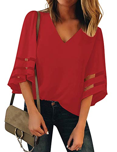 LookbookStore Women's Red V Neck Casual Mesh Panel Blouse 3/4 Bell Sleeve Solid Color Loose Top Summer Lightweight Work Shirt Size XL(US 16-18)