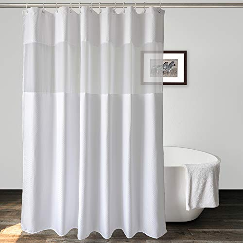 UFRIDAY Waffle Weave Fabric Shower Curtain with Mesh Window, Heavy Duty Decorative Bathroom Curtain with White Pique Pattern, Spa-Like Hotel Luxury, Waterproof,72 x 72 Inches