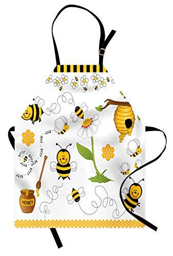 ABAKUHAUS, Collage Waschbar, Digitaldruck Technologie Wasserdicht Schmutzabweichent, Honig Bienen Traumhafter Natur Illustrationen mit Maja Gänseblümchen in Cartoon Kunst Stil