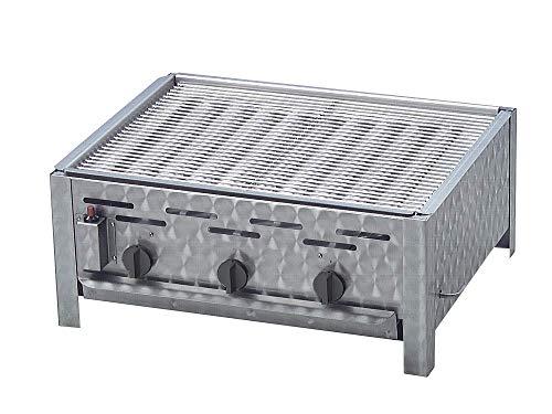 Edelstahlgrill Gas mit 11 KW DREI einzeln regelbare Brenner als Tischgerät mit Grillrost Flammabdeckung und Fettauffangwanne Gasschlauch und Regler ideal für Privat Verein Gewerbe in top Qualität